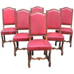 Set of Six French Louis XIII Style Os de Mouton Dining Chairs, circa 1880s