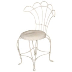 French Wrought Iron Fan Back Outdoor Patio Chairs - Set of Four