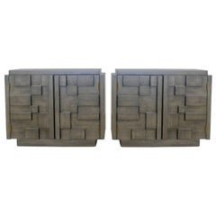 Pair of Brutalist Nightstands by Lane in a Custom Gray Finish