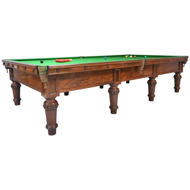 Scottish Victorian Billiard Snooker Pool Table Walnut, Made 1870 For Sale