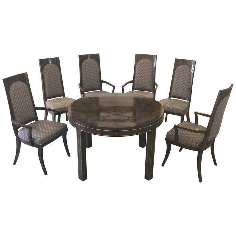 Mastercraft Burl and Brass Extendable Dining Table and Six Chairs For Sale