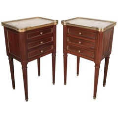 Pair of French Mahogany and Brass Inlaid Side Tables with Carrara Marble Tops