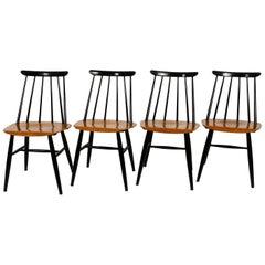 Set of 4 Original Fanett Chairs by Ilmari Tapiovaara for Asko Made in Finland