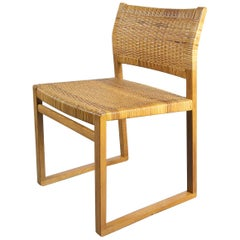 Børge Mogensen BM61 Oak and Wicker Dining Chairs, Denmark, 1950s