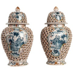 Dutch Early-19th Century Polychrome Delft Faience Pair of Vases, circa 1810-1818