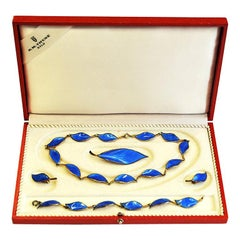 Beautiful Blue Silver Jewelry Set by Willy Winnæss 1955, Norway