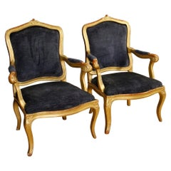 19th Century Giltwood and Blue Velvet Pair of Italian Armchairs, 1880