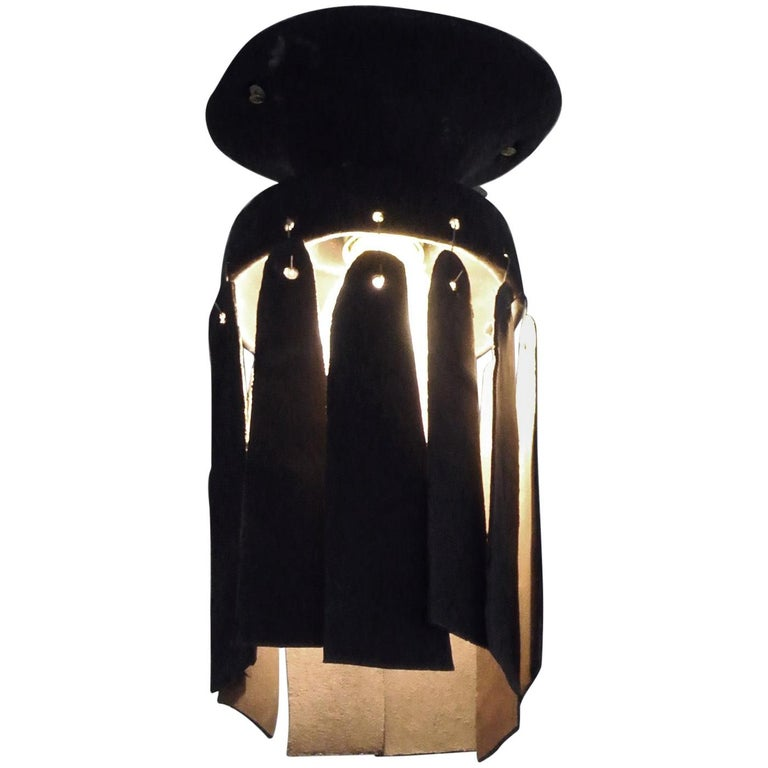 Black Stoneware Ceiling Lamp with Petal Shade and Black Matte Glaze For Sale