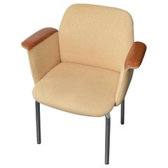 Armchair with Armrest in Leather Scandinavian Denmark Beige, 1960s