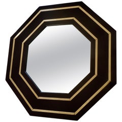 Fine Lacquer Mirror with Brass Accents by Jean Claude Mahey, France, 1975
