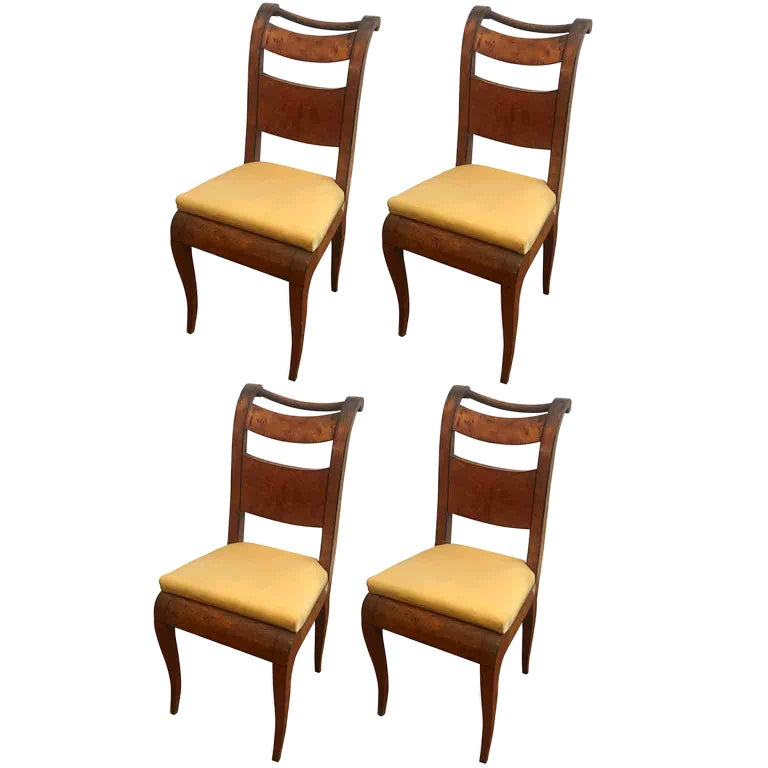Four Italian 19th Century Directoire Maple Chairs Genoese Estampille Chairs For Sale