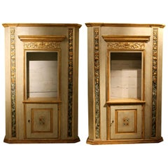Italian Neoclassical Faux Marble Lacquer and Giltwood Open Shelves Bookcases
