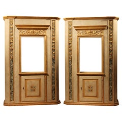 Italian Neoclassical Faux Marble Lacquer and Giltwood Open Shelves Cabinets