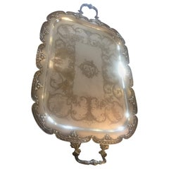 20th Century Louis XV Style Silver Plate Monogramed Tray, 1900s