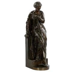 """Venus Bathing"", Antique Bronze Sculpture by Eugene Aizelin (French, 1821-1902)"