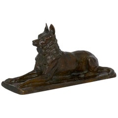 """German Shepherd"" Antique French Bronze Sculpture Dog by P. Tourgueneff & Susse"