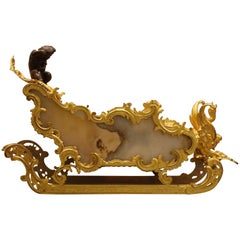 A French Sled Chariot Bronze and Onyx Centerpiece