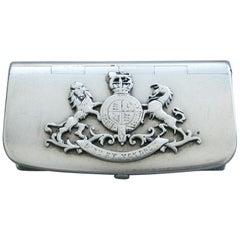 Victorian Novelty Silver 'Military Leather Cross-Belt Pouch' Vesta Case
