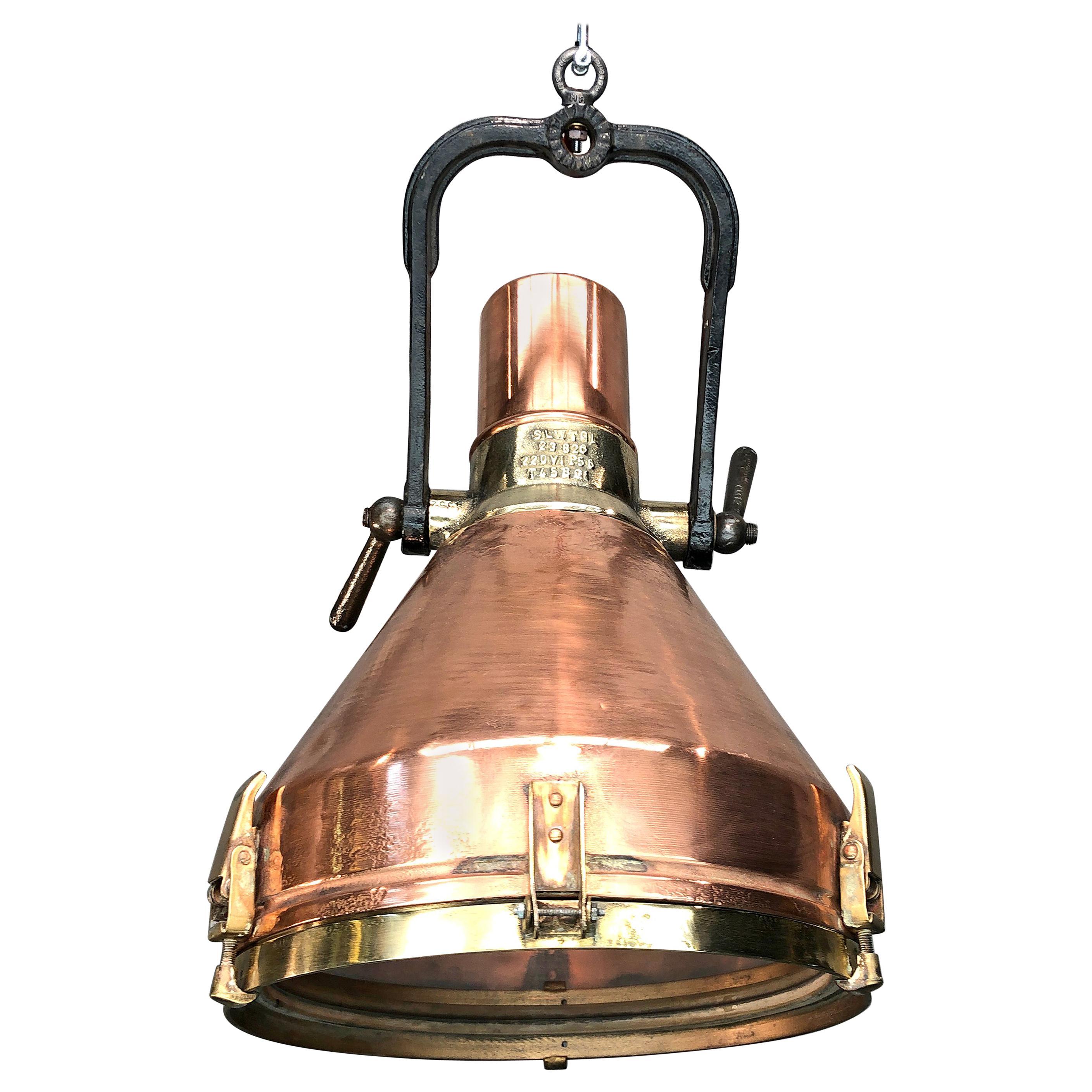 Midcentury Industrial German VEB Copper, Cast Brass, Iron and Glass Pendant Lamp