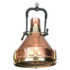 Midcentury Industrial German VEB Copper, Cast Brass, Iron and Glass Pendant Lamp