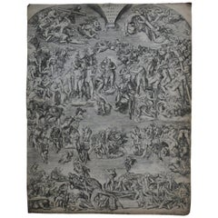 Antique Engraving 'the Last Judgement from the Sistine Chapel'