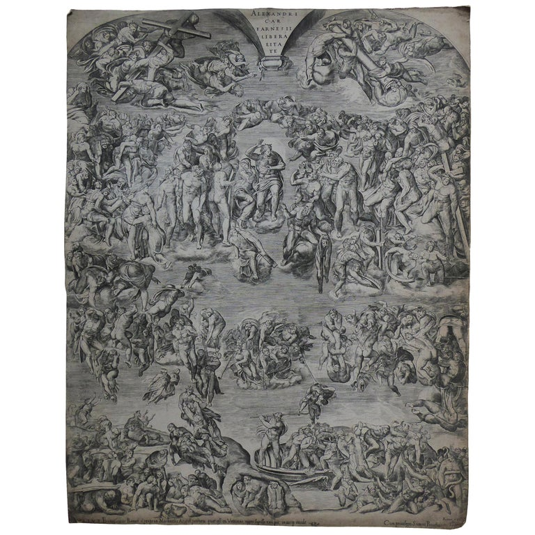 Antique Engraving 'the Last Judgement from the Sistine Chapel' For Sale