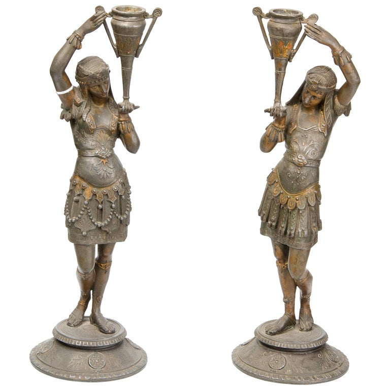 Pair of Candleholders, Calamine, Possibly France, 19th Century For Sale