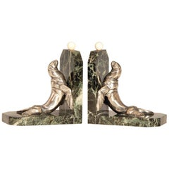 Art Deco Silvered Bronze Sea Lions on Marble Base Bookends by Maurice Frecourt