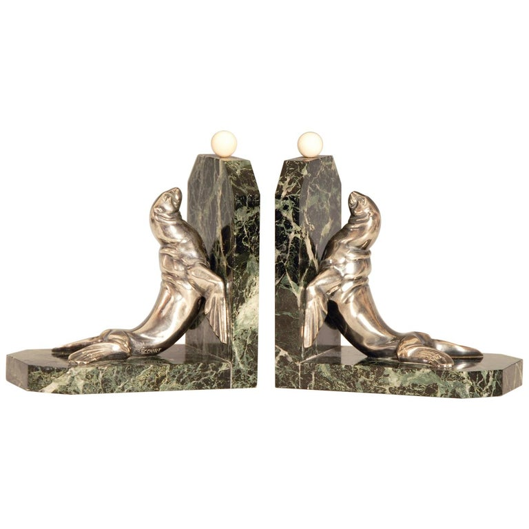Art Deco Silvered Bronze Sea Lions on Marble Base Bookends by Maurice Frecourt For Sale