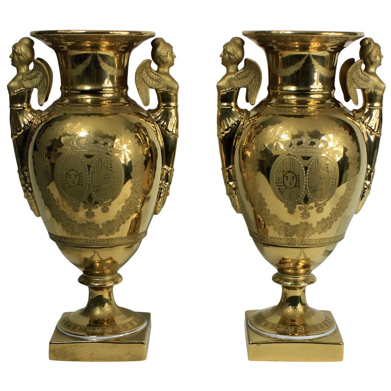Pair of French Ground Gold Vases For Sale