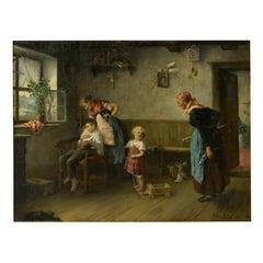 """Caught Smoking"" Interior Oil Painting by Arthur Keller (American, 1866-1924)"
