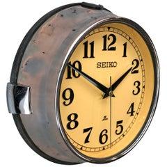 1970 Seiko Steel Retro Vintage Industrial Antique Steel Quartz Clock
