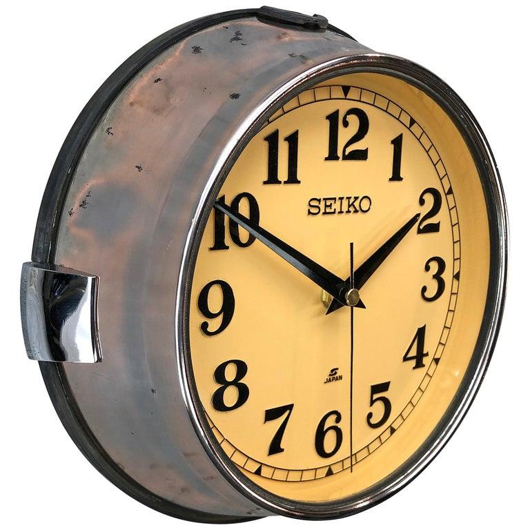 1970 Seiko Steel Retro Vintage Industrial Antique Steel Quartz Clock For Sale