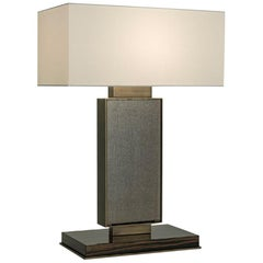 Table Lamp in Bronzed Brass and Glossy Ebony Finish with Vetrite Top in Fabric