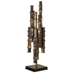 Table Lamp with Bronzed Metal Frame Base in Glossy Ebony Finish