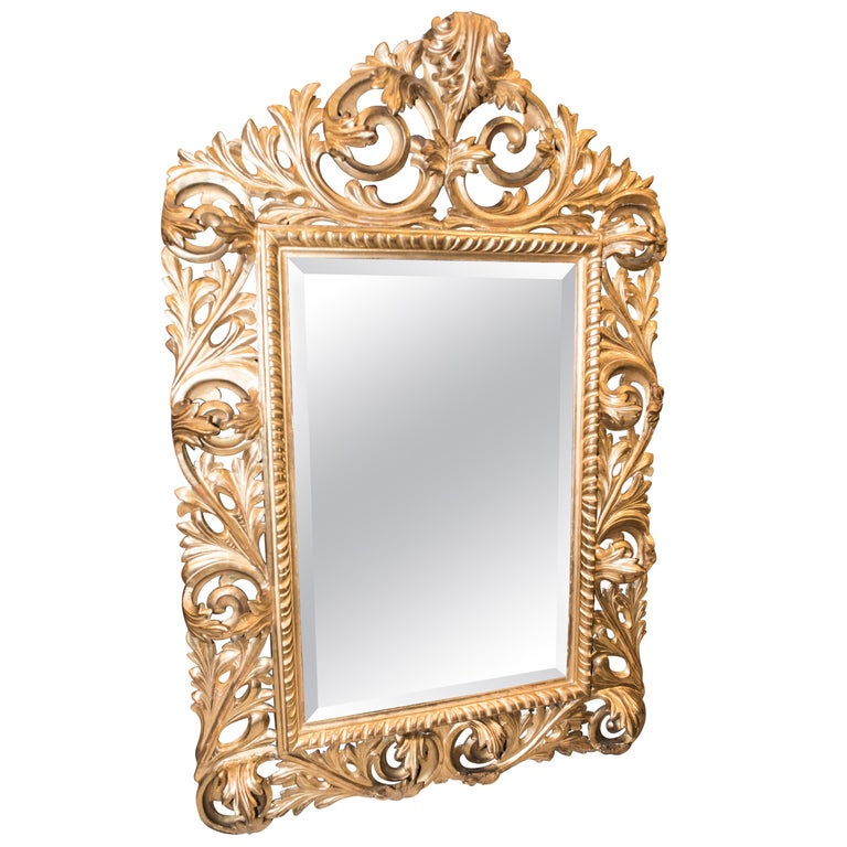 19th Century Napoleon III , Carved and Golden Wood French Mirror, 1880 For Sale
