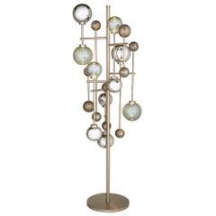 Floor Lamp in Metal Frame in Darkened Bassl or Brushed Nickel Decorative Sphere