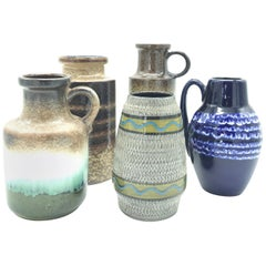 Collection of 5 Vintage West German Art Vases from the 1970s