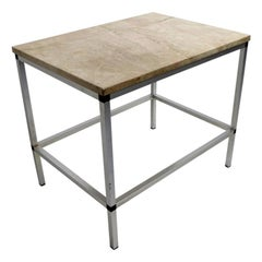 Marble and Aluminum Side Table after McCobb