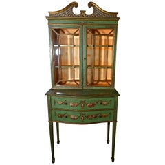 Edwardian Hand Painted Cabinet on Chest of Drawers