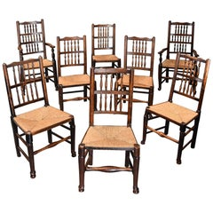 Matched Set of Eight Mid-19th Century Ash Spindle Back Chairs of Superb Patina