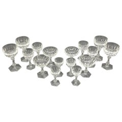 Early 19th Century English Crystal Cut Glass, Set of Crystal Glass, 16 Pieces