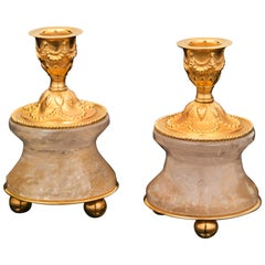 Pair of Rock Crystal and Gilt-Bronze Lamps /Candlesticks Louis XVI Style