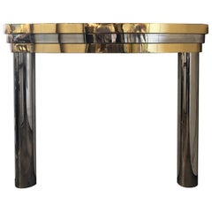 Midcentury Brass and Chrome Fireplace Mantel
