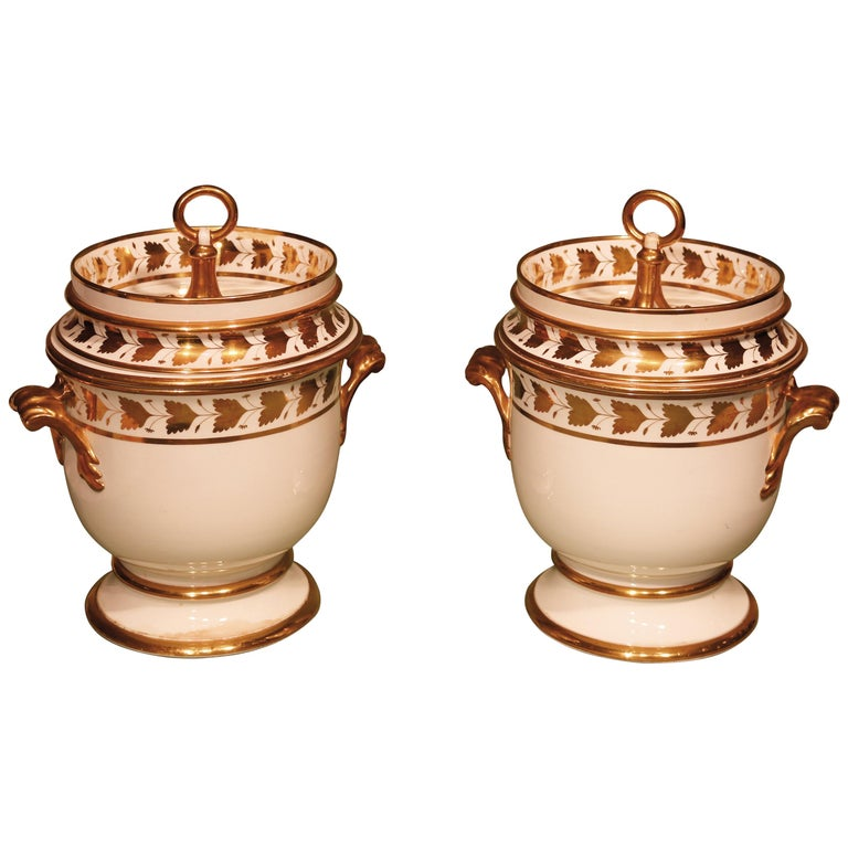 19th Century Pair of Spode Porcelain Ice-Pails For Sale