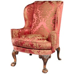 George I Walnut Wing Chair