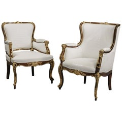 Fine Companion Pair of Russian Gilt Bronze-Mounted Armchairs, circa 1870