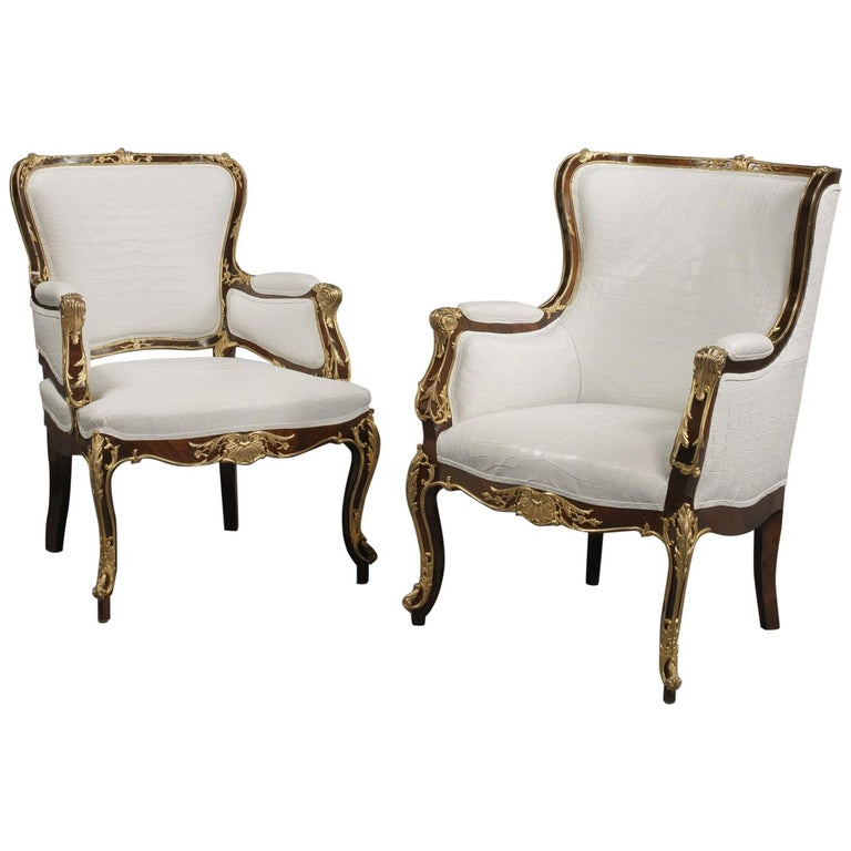 Fine Companion Pair of Russian Gilt Bronze-Mounted Armchairs, circa 1870 For Sale