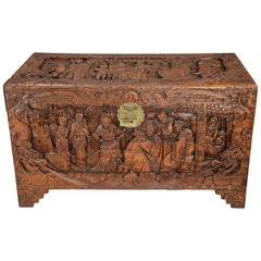 Highly Decorative Profusely and Deep Carved Eastern Camphor Wood Chest