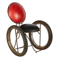 Contemporary Leather, Metal 'Wheelchair' Chair